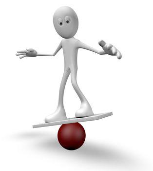 cartoon guy balancing on sphere  - 3d illustration