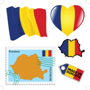 set of different symbols in national colours of Romania