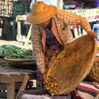 Everyday scene on a market in the ancient city of Bagan in Mayanmar (Burma).