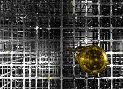 abstract futuristic background with sphere - 3d illustration