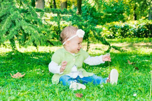 Baby taking dandelion