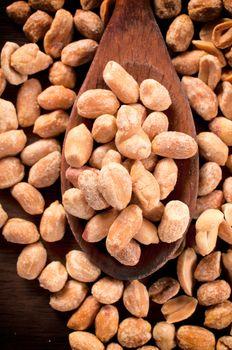 Roasted peanuts in ladle