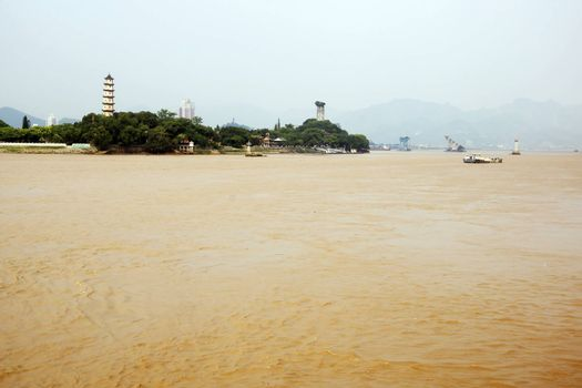 Shooting in China Zhejiang Wenzhou (Wenzhou city on the right bank)