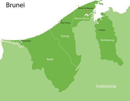 Green Brunei map