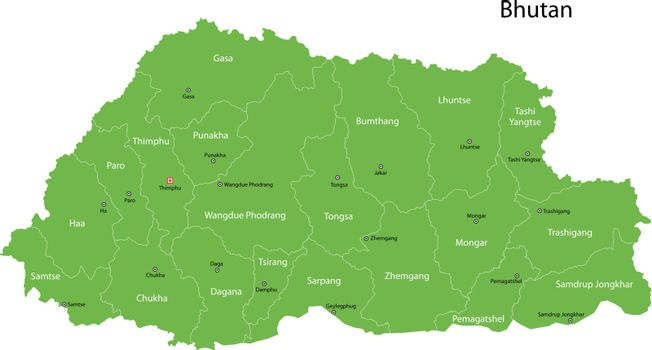 Green Bhutan map