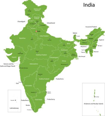 Green India map