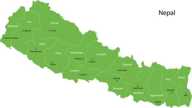 Green Nepal map
