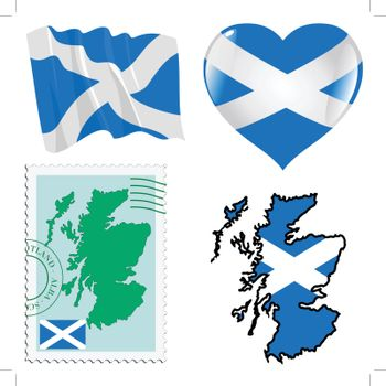 set of different symbols in national colours of Scotland