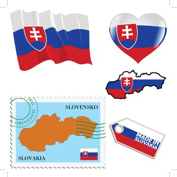 set of different symbols in national colours of Slovakia