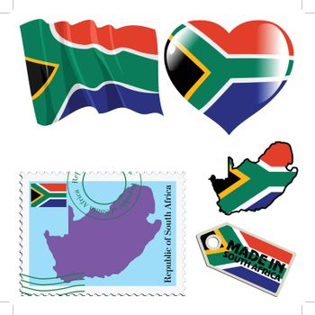 set of different symbols in national colours of South Africa