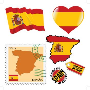 set of different symbols in national colours of Spain