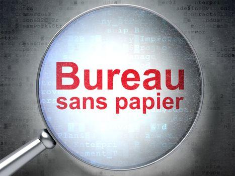 Business concept: Bureau Sans papier(french) with optical glass