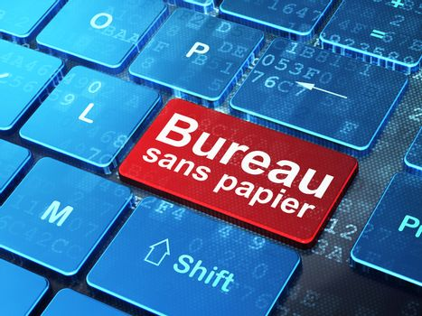 Finance concept: Bureau Sans papier(french) on computer keyboard
