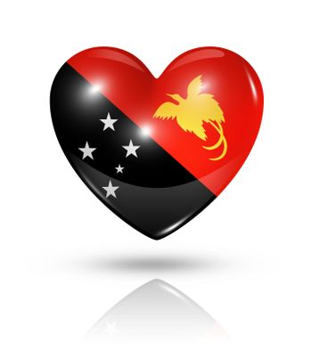 Love Papua New Guinea symbol. 3D heart flag icon isolated on white with clipping path