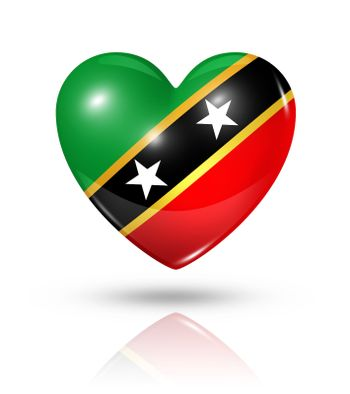 Love Saint Kitts And Nevis symbol. 3D heart flag icon isolated on white with clipping path