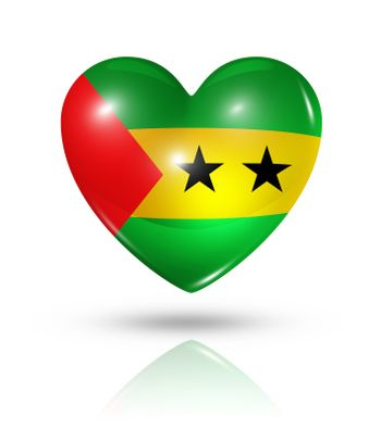 Love Sao Tome and Principe symbol. 3D heart flag icon isolated on white with clipping path