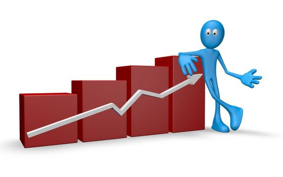 cartoon guy and business graph - 3d illustration