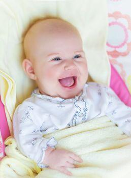 Newborn baby laughing