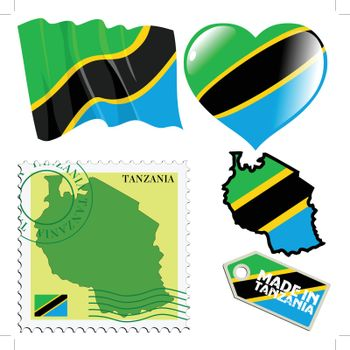 set of different symbols in national colours of Tanzania