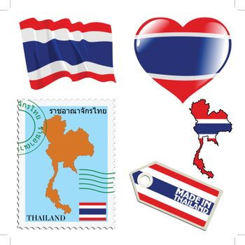 set of different symbols in national colours of Thailand