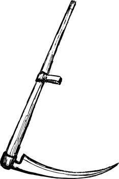 sketch, cartoon, vector image of a scythe