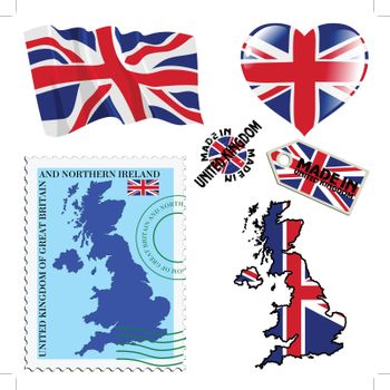 set of different symbols in national colours of United Kingdom