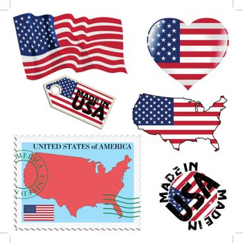 set of different symbols in national colours of United States