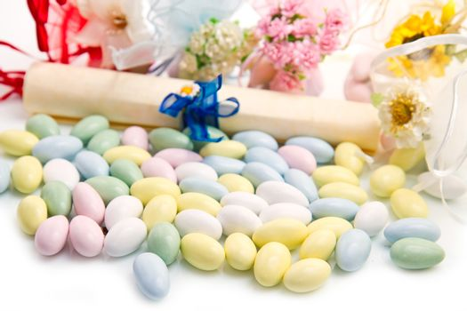 different colored candy favor on white background