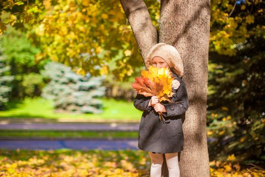 Adorable Fashion girl standing under a tree with bouquet of maple leaves on sunny autumn day