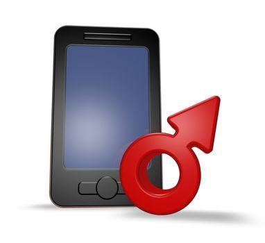 smartphone and male symbol - 3d illustration
