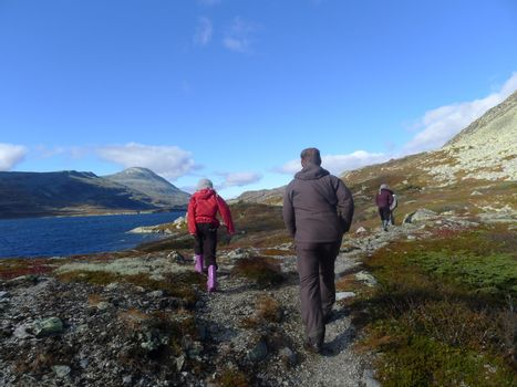 Hiking in the mountain, Telemark with view to Gaustatoppen
