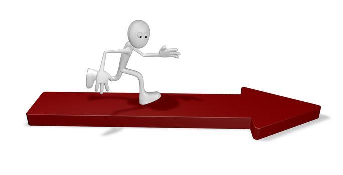 cartoon guy is running on arrow - 3d illustration