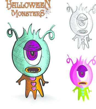 Halloween monsters one eye creature EPS10 file.