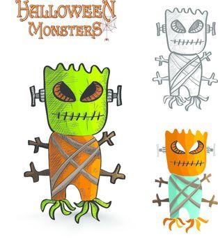Halloween monsters scary mask trunk freak EPS10 file.