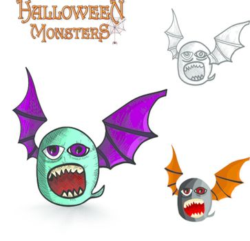 Halloween monsters freak bat EPS10 file