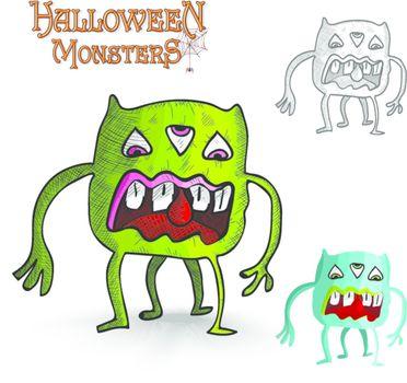 Halloween monsters four legs freak EPS10 file.