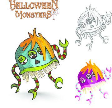 Halloween monsters scary cartoon freak EPS10 file.