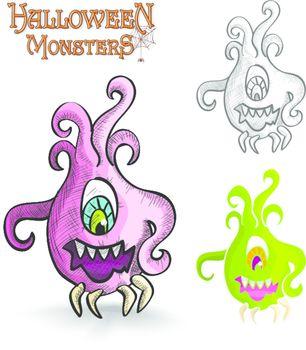 Halloween monsters scary cartoon ugly freak EPS10 file.
