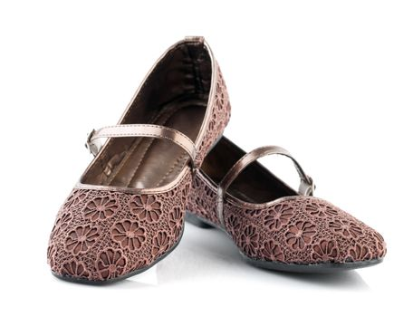 Brown lace flora pattern casual woman shoes