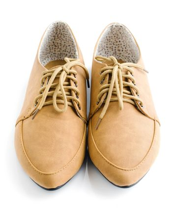 Casual brown leather lady shoes