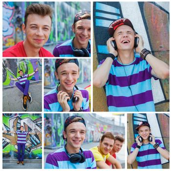 Collage of images happy teens boy with his friends by painted wall sunrise listening to music.