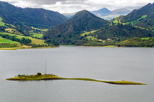 Small island in a lake in Neusa, Colombia