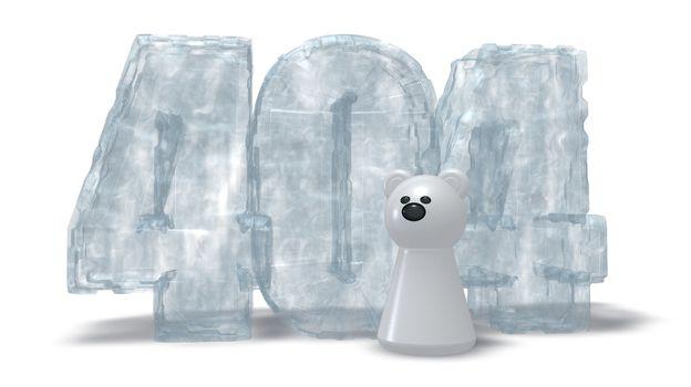 polar bear token and frozen number 404 on white background - 3d illustration