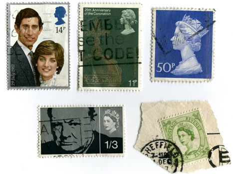 UNITED KINGDOM - CIRCA 1981: A stamp printed in England shows an image of Wedding of HRH Prince Charles to Lady Diana Spencer 29 July 1981, circa 1981. Assortment of vintage stamps, Winston Churchill and Queen Elizabeth's stamps