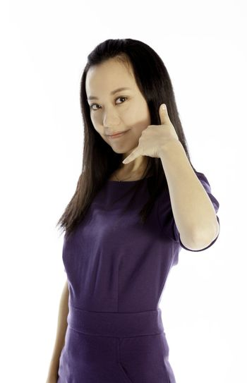 Attractive Asian girl 30s isolated on white background