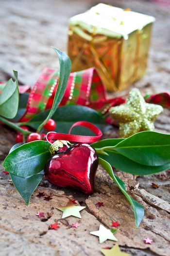 Christmas decorations and holly branches