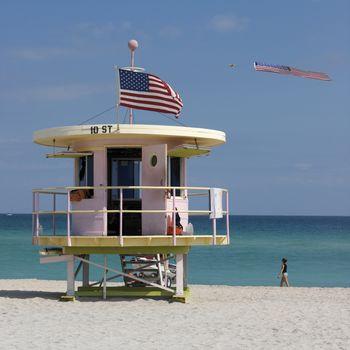 Lifeguard hut on Miami Beach in Florida - United States of America