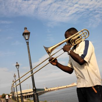 Street musician by the Mississippi in the French Quarter of New Orleans in Louisiana in the United States of America