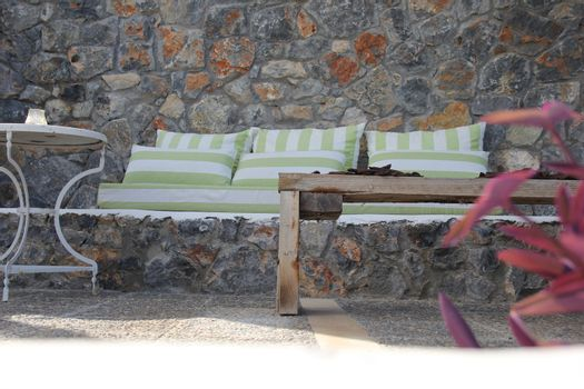summer terrace with a sofa and a table