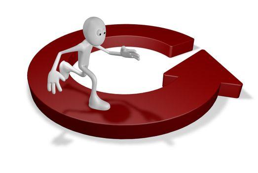 cartoon guy runs on round arrow - 3d illustration